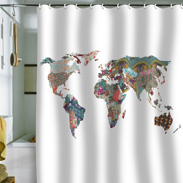 Worldly Shower Curtain 69x70 design inspiration on Fab. This is awesome. Can't find a source, though.