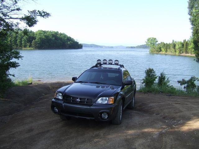 Subaru Baja by the lake.