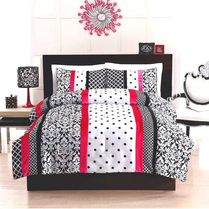 Teen bedding black and white