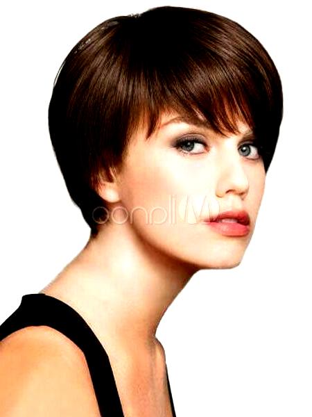 100 menschliches Haar Mode Perücke kurze glatte Haare dunkelbraun elegante Dame…