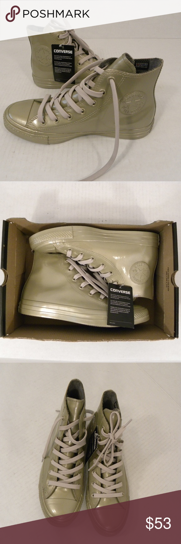 5f6636f8abd91a Converse Chuck Taylor Metallic Rubber Sz 8 M Gold Converse Chuck Taylor All  Star High Top Shoes Model  553269C Metallic Rubber Light Gold Climate  Counter ...