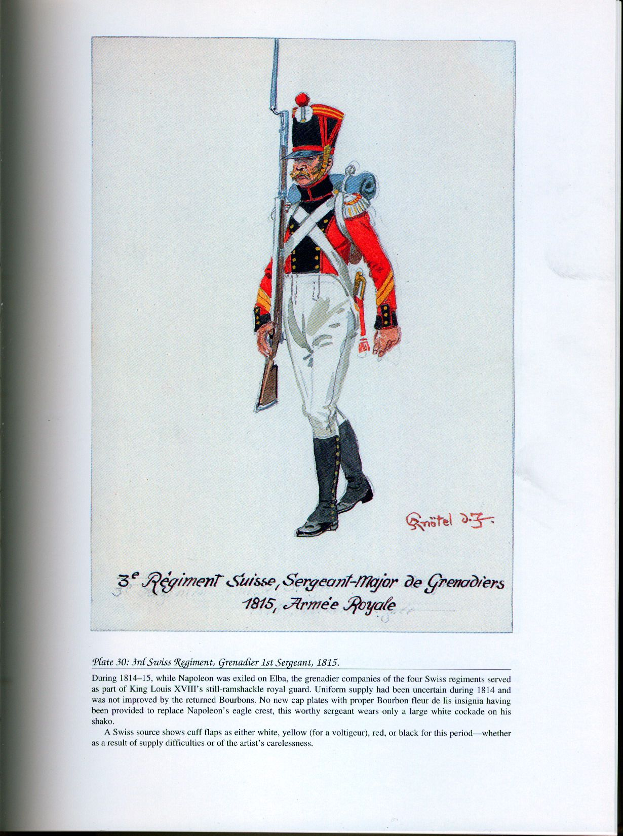 Foreign Troops: Plate 30: 3rd Swiss Regiment, Grenadier 1st Sergeant, 1815.