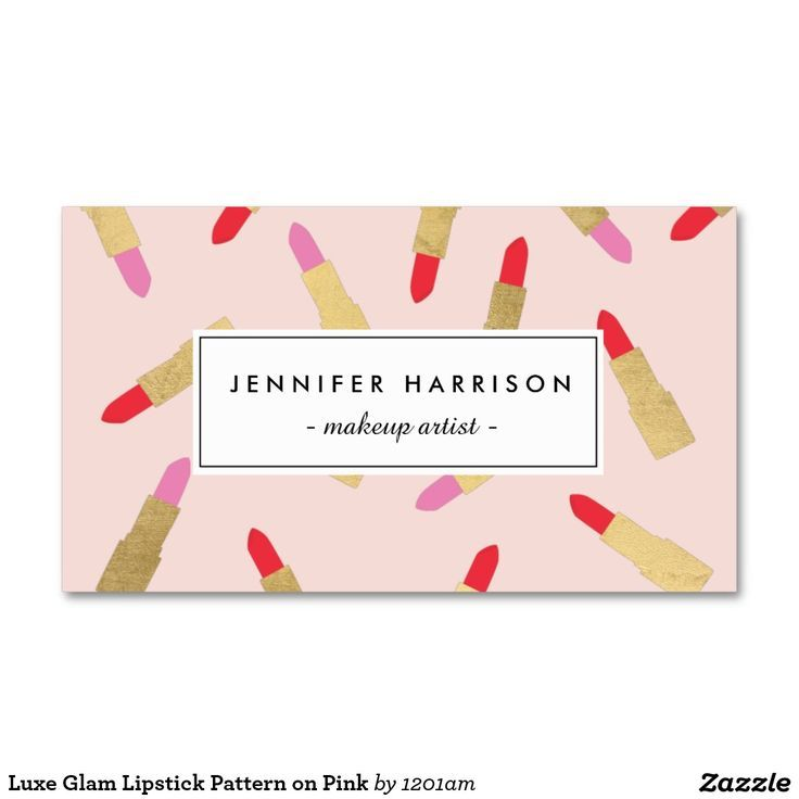Luxe Glam Lipstick Pattern on Pink Makeup Artist Business Card ...