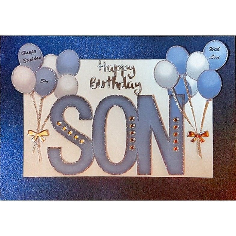 Handmade in UK Luxury Son Happy Birthday Card Any age