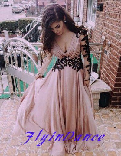 Deep V neck Prom Dress 2015 Fashion Long Sleeves Appliques Black And Pink Chiffon Prom Dress