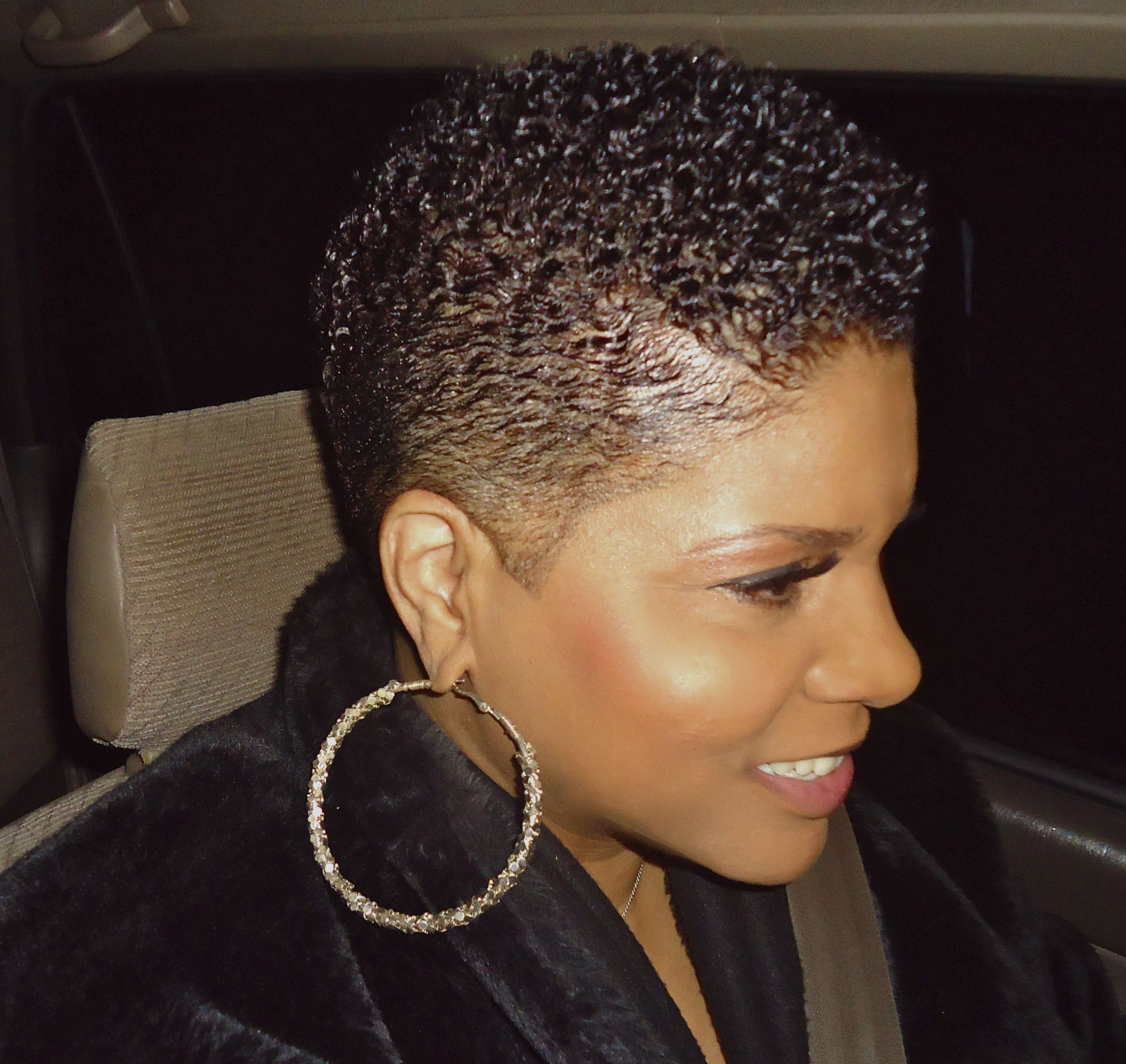 Short natural black hair Slicked down