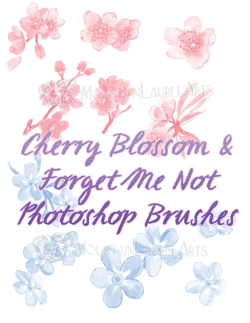 Cherry Blossom Photoshop Brushes Forget Me Not Graphic Design