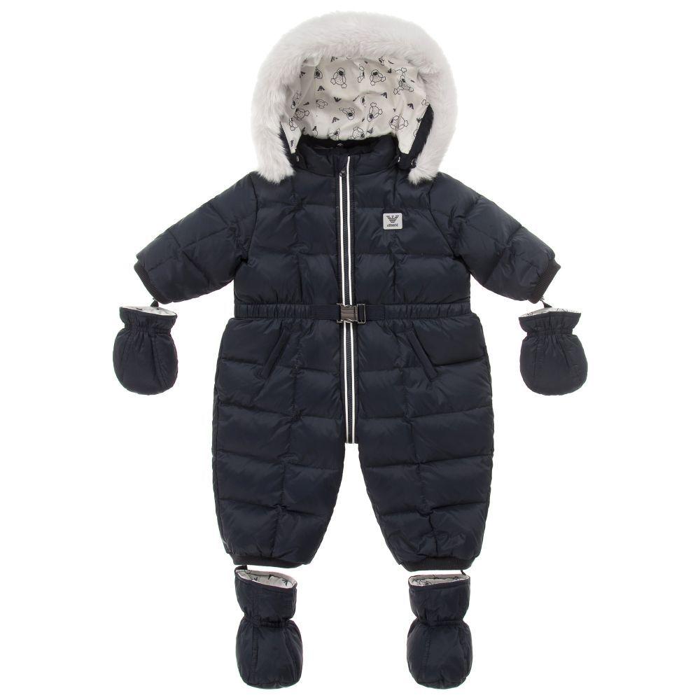 Armani Newborn - Baby Boys Blue Down Padded Snowsuit  d76ad543f544f