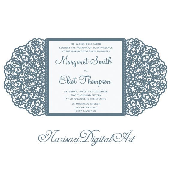 Wedding Invitation Lace Card SVG , DXF Cutting Template от