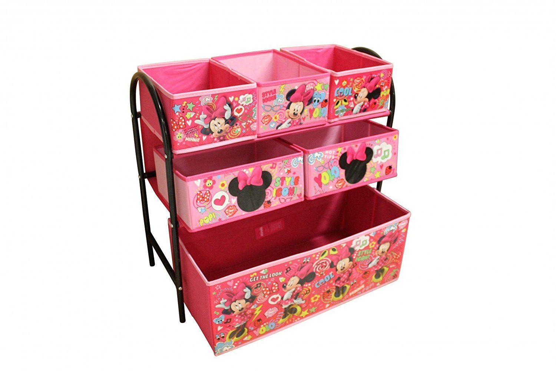 disney minnie mouse kinderregal aus metall mit aufbewahrungsboxen kinder spielzeugregal mit. Black Bedroom Furniture Sets. Home Design Ideas