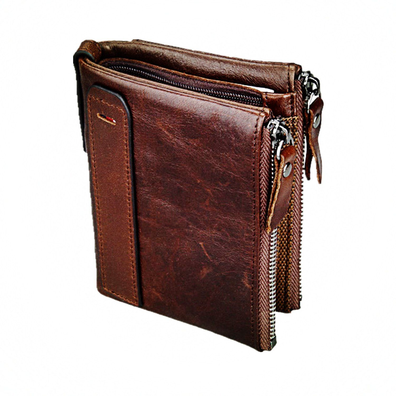 8ad0e98fcf30 Men's Leather Wallet Genuine Leather Cowhide Zip Wallet Vintage Bifold With  Double Minimalist Vintage Wallets Pockets