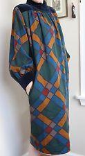 VTG Yves Saint Laurent Rive Gauche Dress 34 (US 6) Velvet Yoke Wool Folk Mosaic