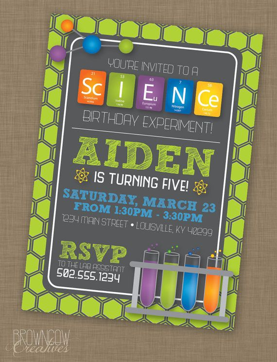 PRINTABLE Science Birthday Party Invitation by BrownCowCreatives – Mad Scientist Birthday Party Invitations