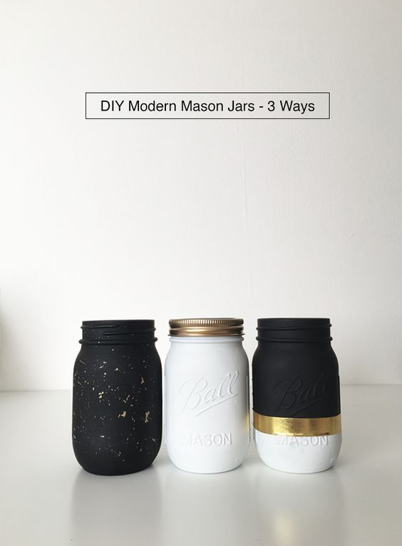 Black White And Gold Diy Modern Mason Jars 3 Ways From Drawntodiy Com Mason Jar Diy Gold Mason Jars Gold Diy