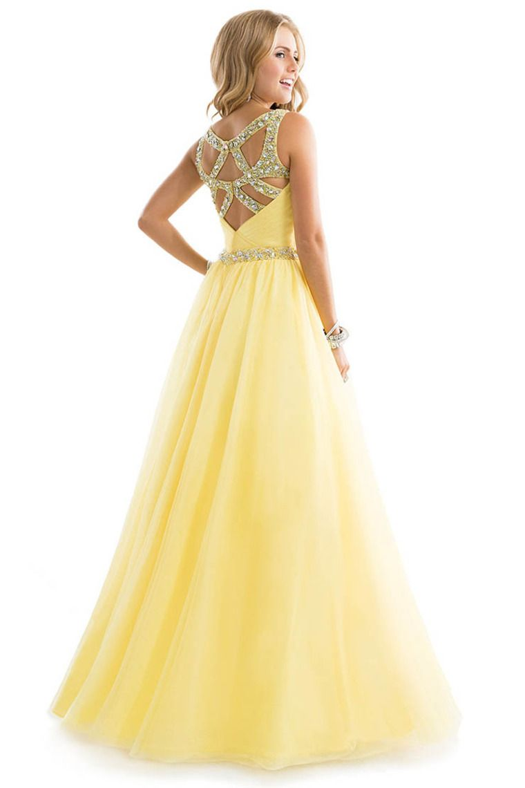 Ball gown prom dresses 2014 - 2014 Prom Dress Tulle Ball Gown With Jeweled Straps Yellow Open Back
