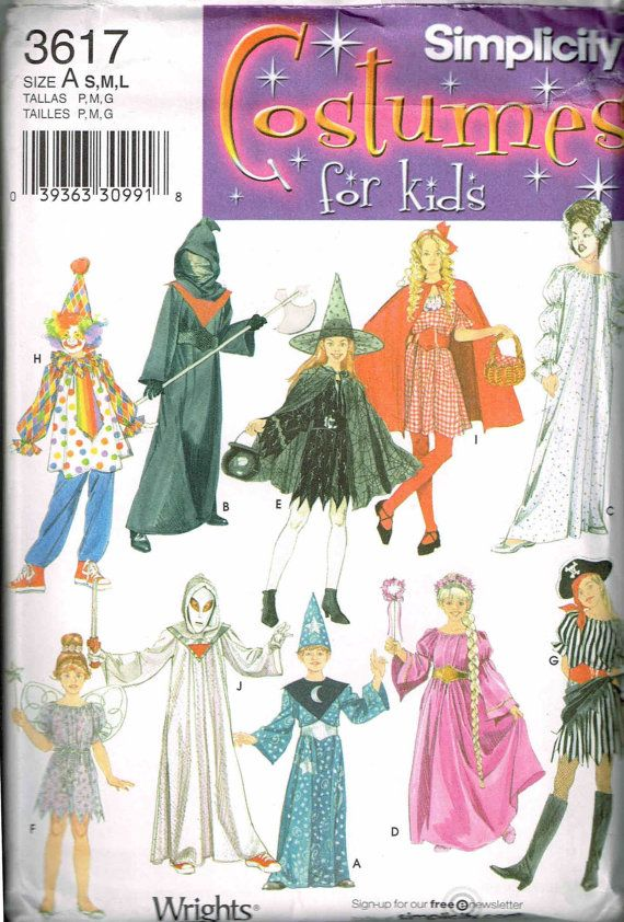 Kids Pirate Clown Witch Wizard Fairy Little Red Riding Hood Grim Reaper Halloween Costume Sewing Pattern by PeoplePackages