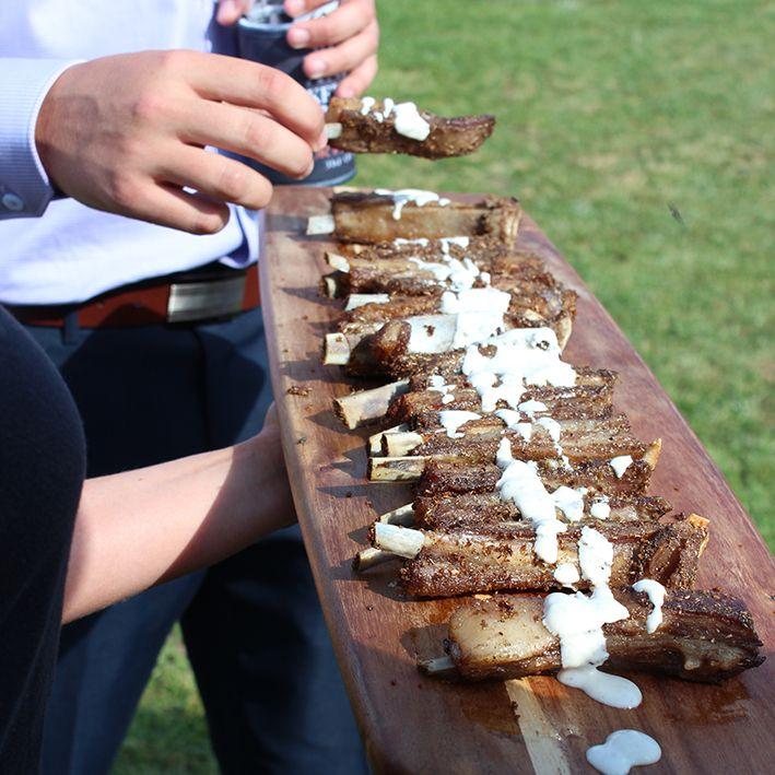 Spiced lamb ribs with lemon yoghurt. #wedding #catering #countrywedding #eatyourgreens #eyg2015