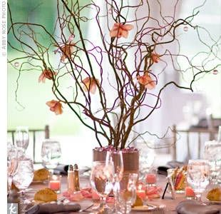 Curly Willow With Flowers Branch Centerpieces Branch Centerpieces Wedding Wedding Centerpieces