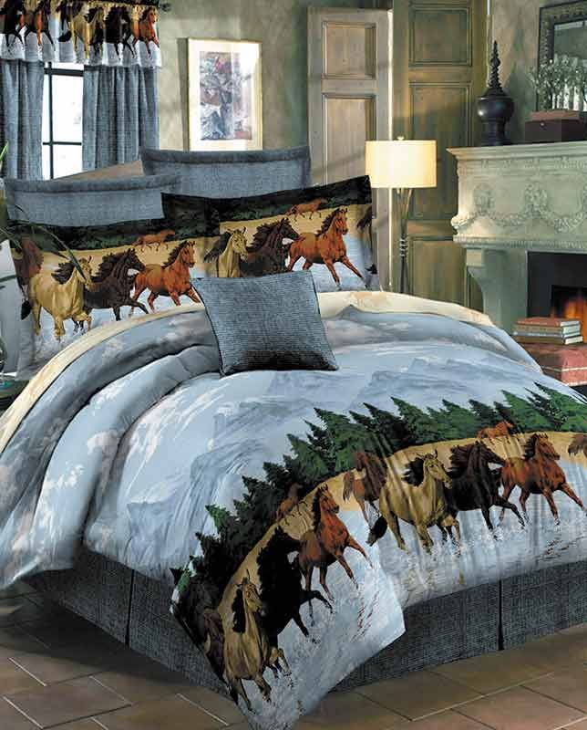 marvelous blue sky bedroom country styl | Horses By The Water Collection Bedding Set rustic western ...