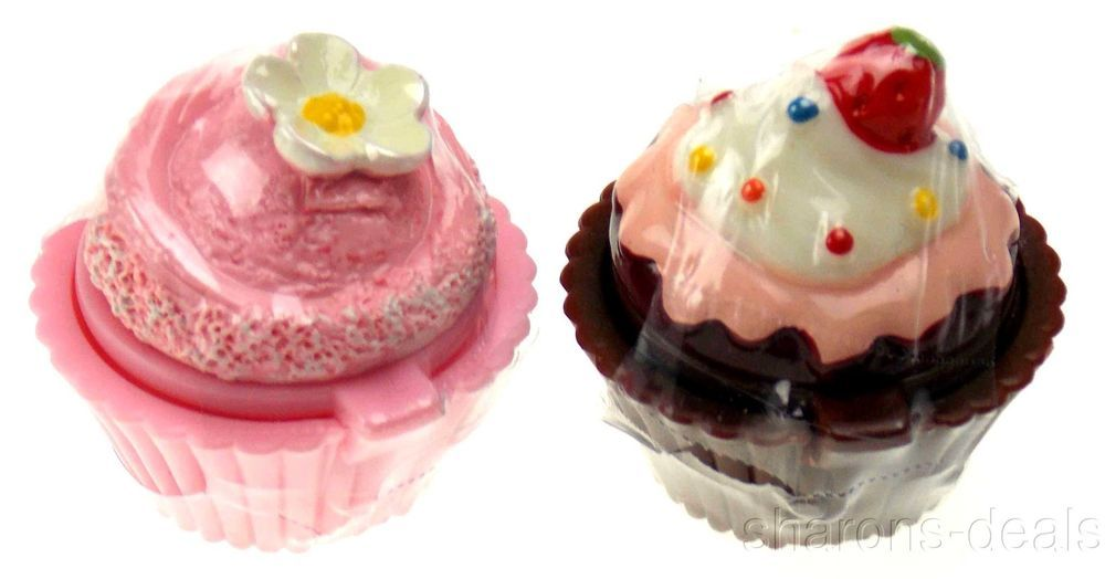 Set 12 Cupcake Shaped Lip Balm Chocolate Vanilla Strawberry Icing Sprinkles #DessertLipGloss