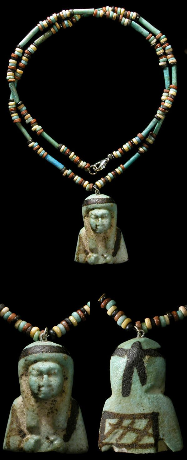 by Ancient Resource (Gabriel Vandervort) | Necklace; Ancient Egypt, Late Period, 664-535 BC. blue, red, black and green faience disc and tube beads. Strung with a large and highly-detailed torso of an ushabti. | 575$ ~ Sold, alternate available