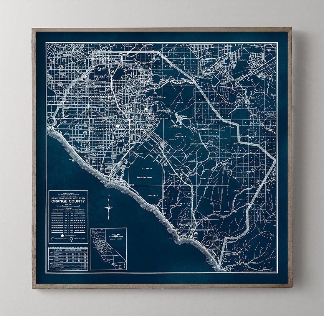 Orange County Map Vintage Orange County California