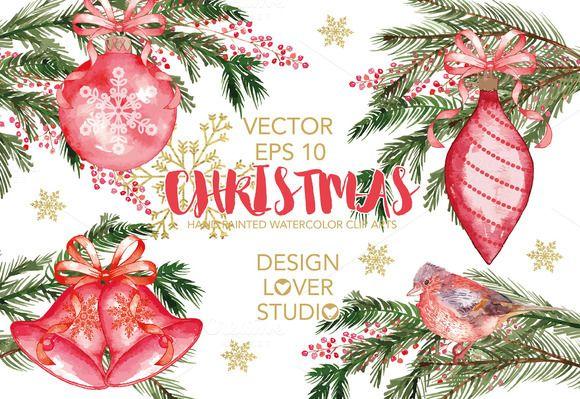 Vector Watercolor Christmas Cliparts By Designloverstudio On Creativemarket
