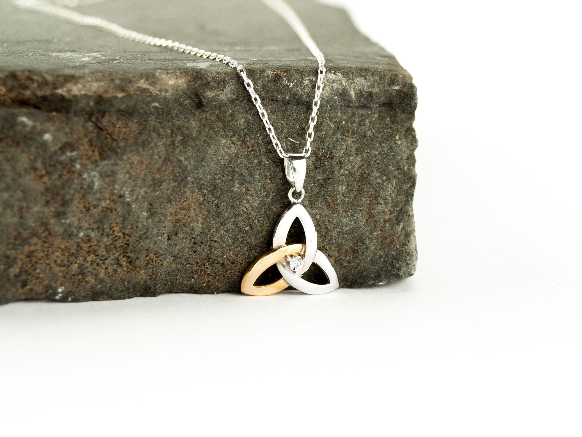 Trinity Knot Necklace Sterling Silver and 10K Gold Diamond