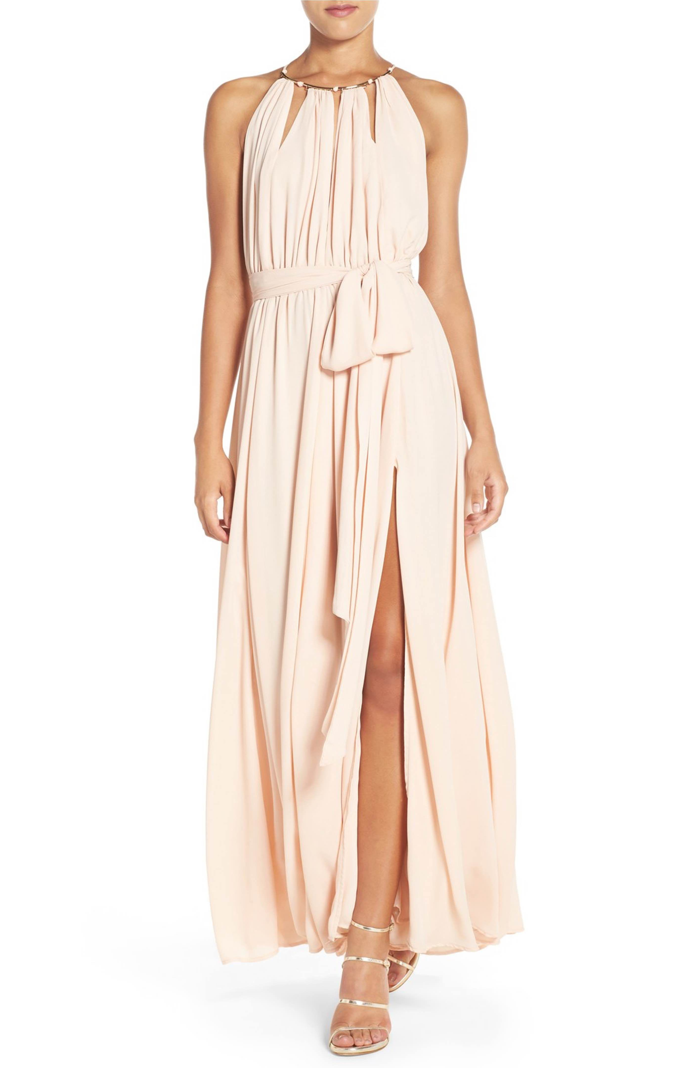Main image lulus gold metallic halter neck chiffon gown shannons