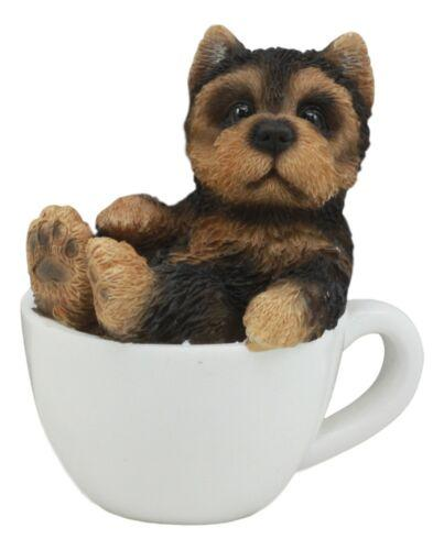 "Ebros Realistic Mini Yorkie Teacup Statue 3"" Tall Pet Pal"