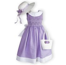 Lilac Classic Girl's Hand Smocked Dress. Matching Straw Hat and Purse. Toddler Girls 2T - 16 |Wooden Soldier