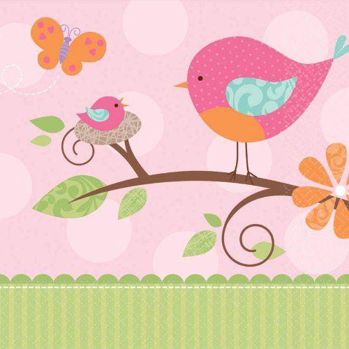 Tweet Baby Lunch Napkins 16 Pink Girl Shower Bird Chick Party
