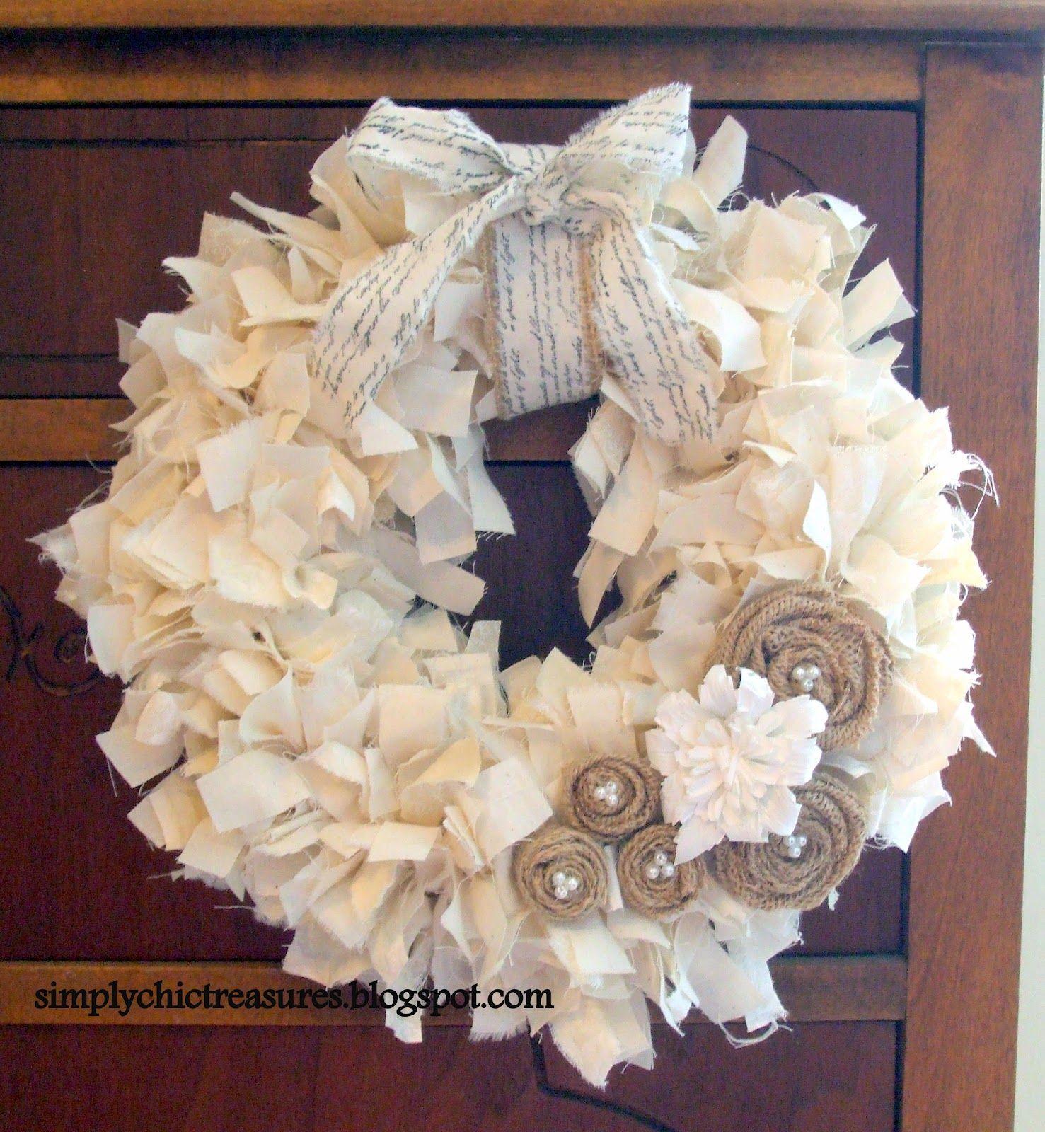 Blukatkraft Easy Diy Scrap Fabric Ribbon Wreath: Simply Chic Treasures: Muslin Rag Wreath