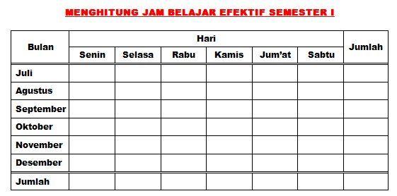 Contoh Format Untuk Menghitung Jam Dan Hari Efektif Belajar Semester
