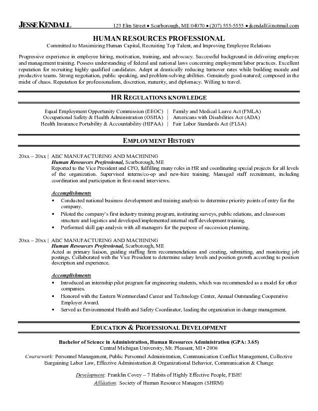 Hr Resume Template Hr Resume Samples Beautiful Generalist Format