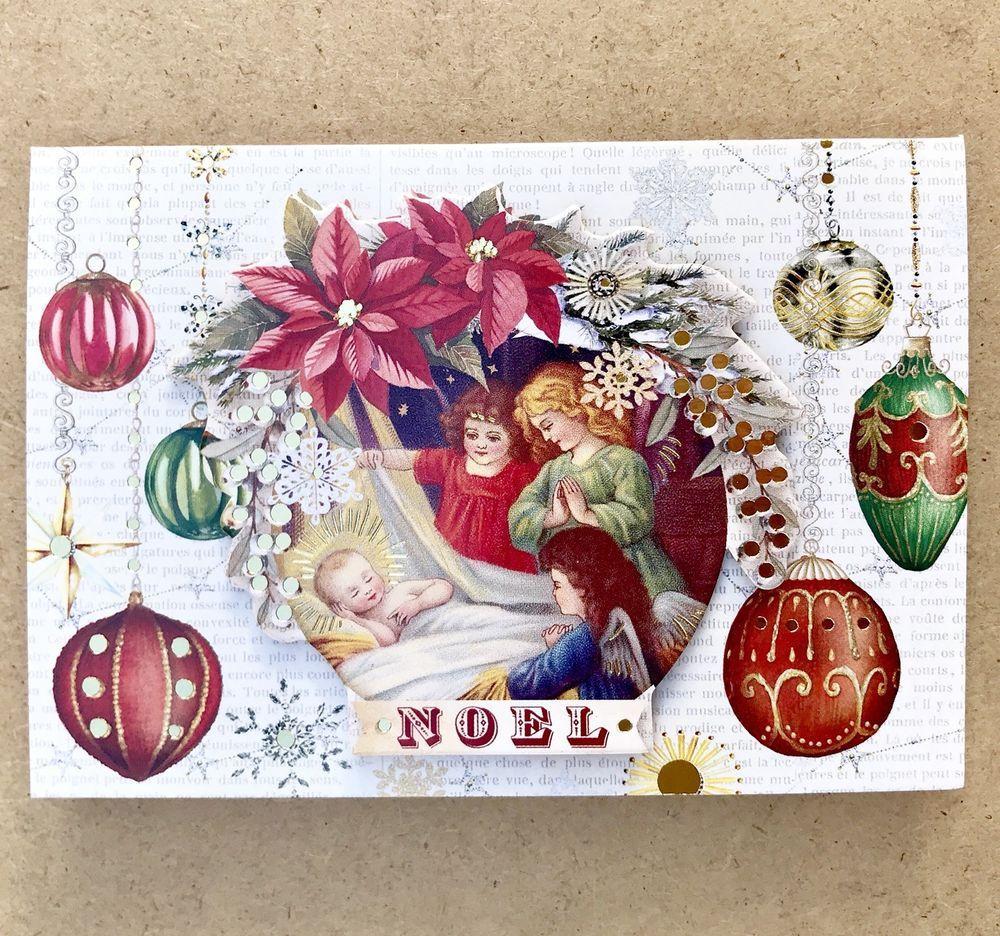 Punch Studio 10 Christmas Cards Jesus Vintage Angels Embellished 3D ...