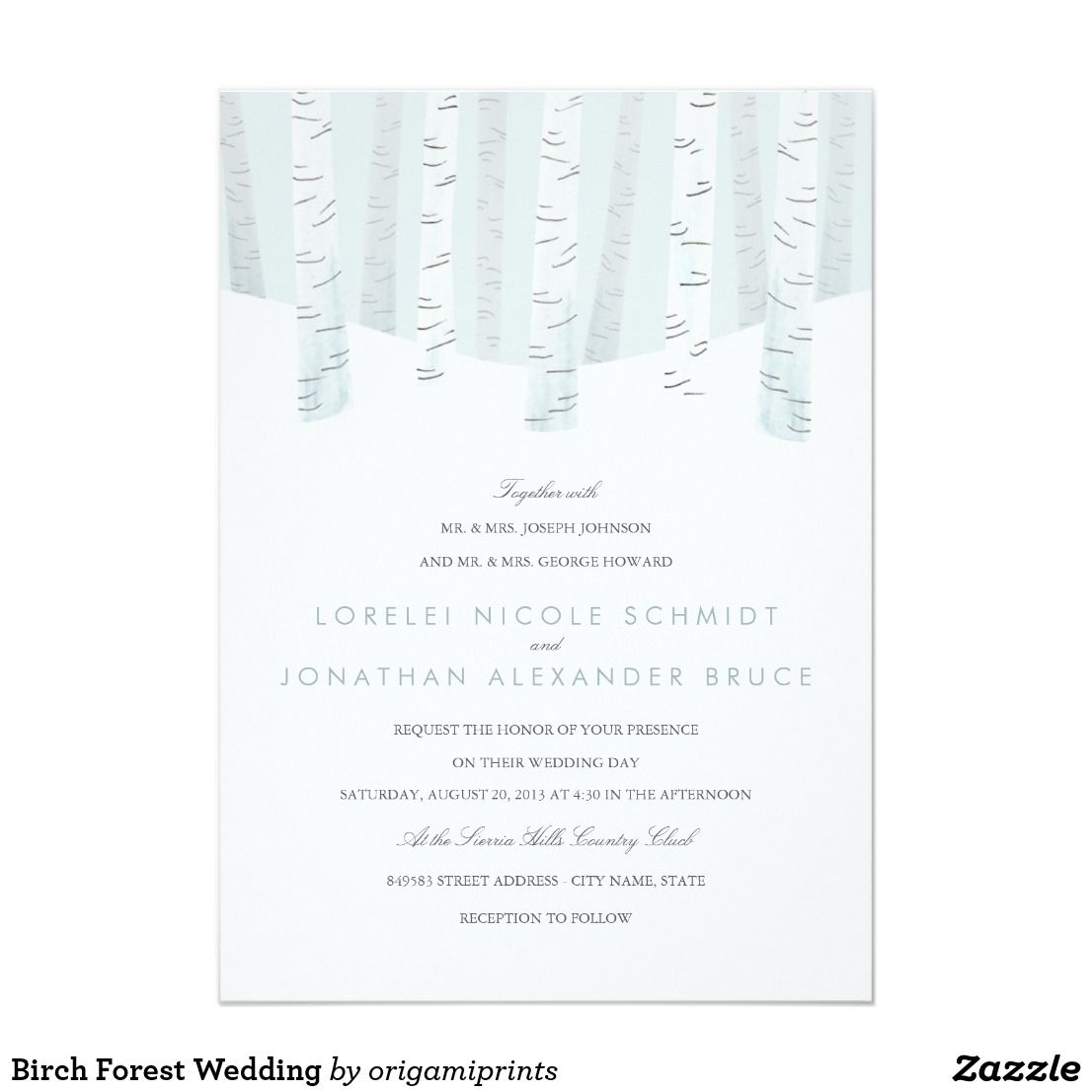 Birch Forest Wedding Card Elegant Birch Tree Forest Wedding Design
