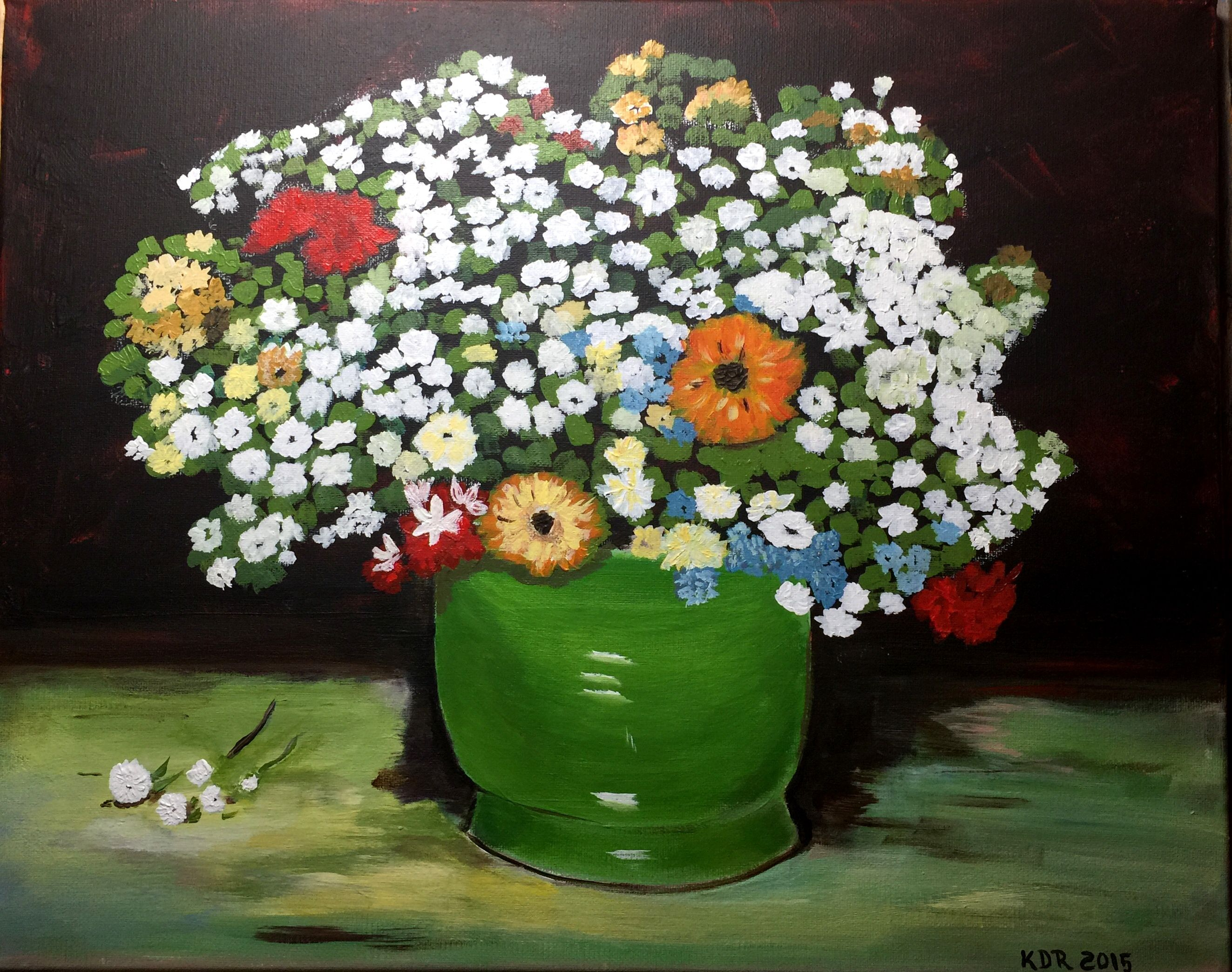 Van goghs green vase with zinnias and other flowers acrylic on van goghs green vase with zinnias and other flowers acrylic on 16x20 canvas based on reviewsmspy