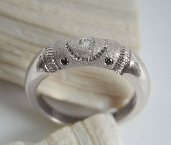 White Gold Wedding Engagement Ring With White And By
