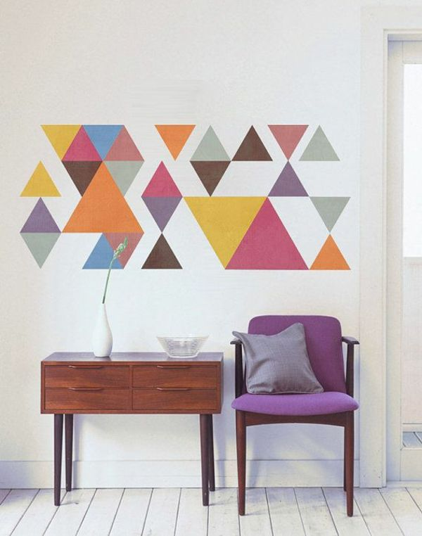 Ideen Zur Wandgestaltung Farbige Wandgestaltung Dreiecken Holz Kommode