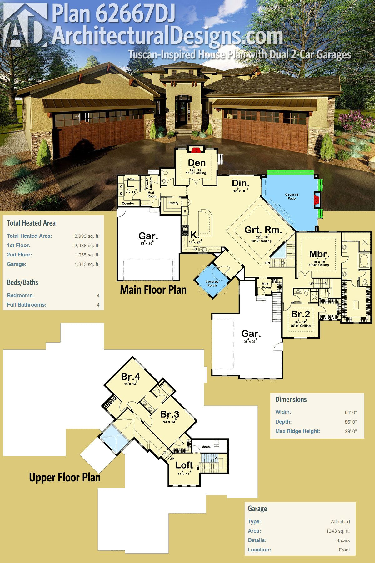 Plan 62667dj Tuscan Inspired House Plan With Dual Garages House Plans Futuristic Home Home Design Floor Plans