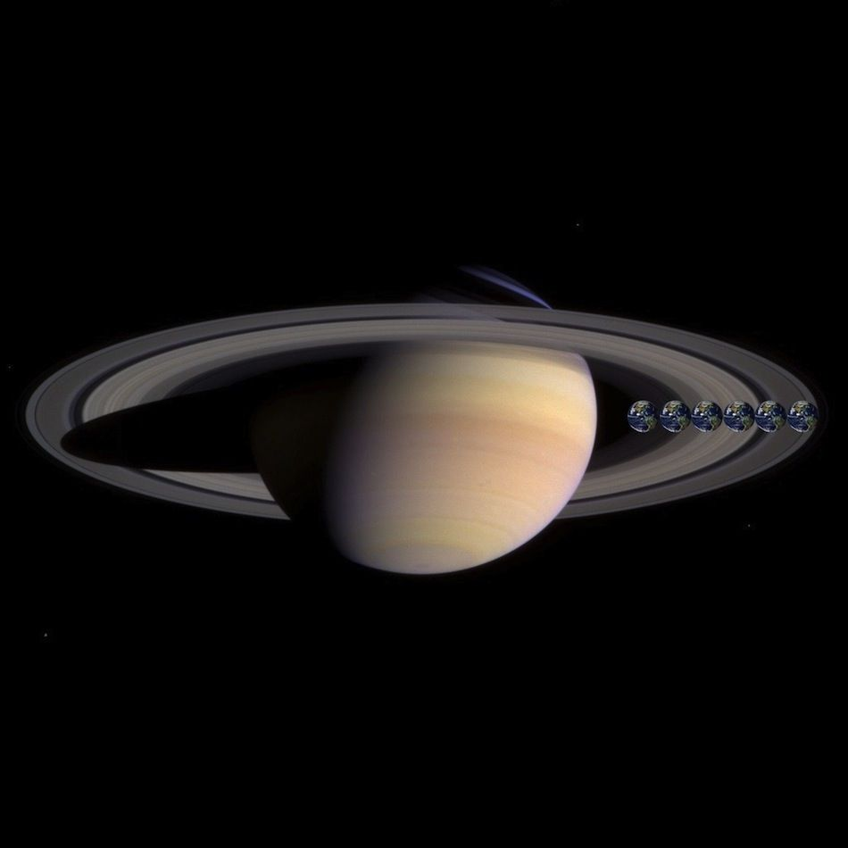 Earth Compared To Saturn Many Earth S Would Fit Across The Width Of Saturn S Rings Main Saturn Image Credit Nasa Foto S Saturnus Planeten