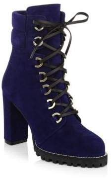 72504fb8cc Stuart Weitzman Shackleton Lace-Up Suede Ankle Boots. Sleek suede boots  with edgy leather laces. Self-covered stacked heel, 4