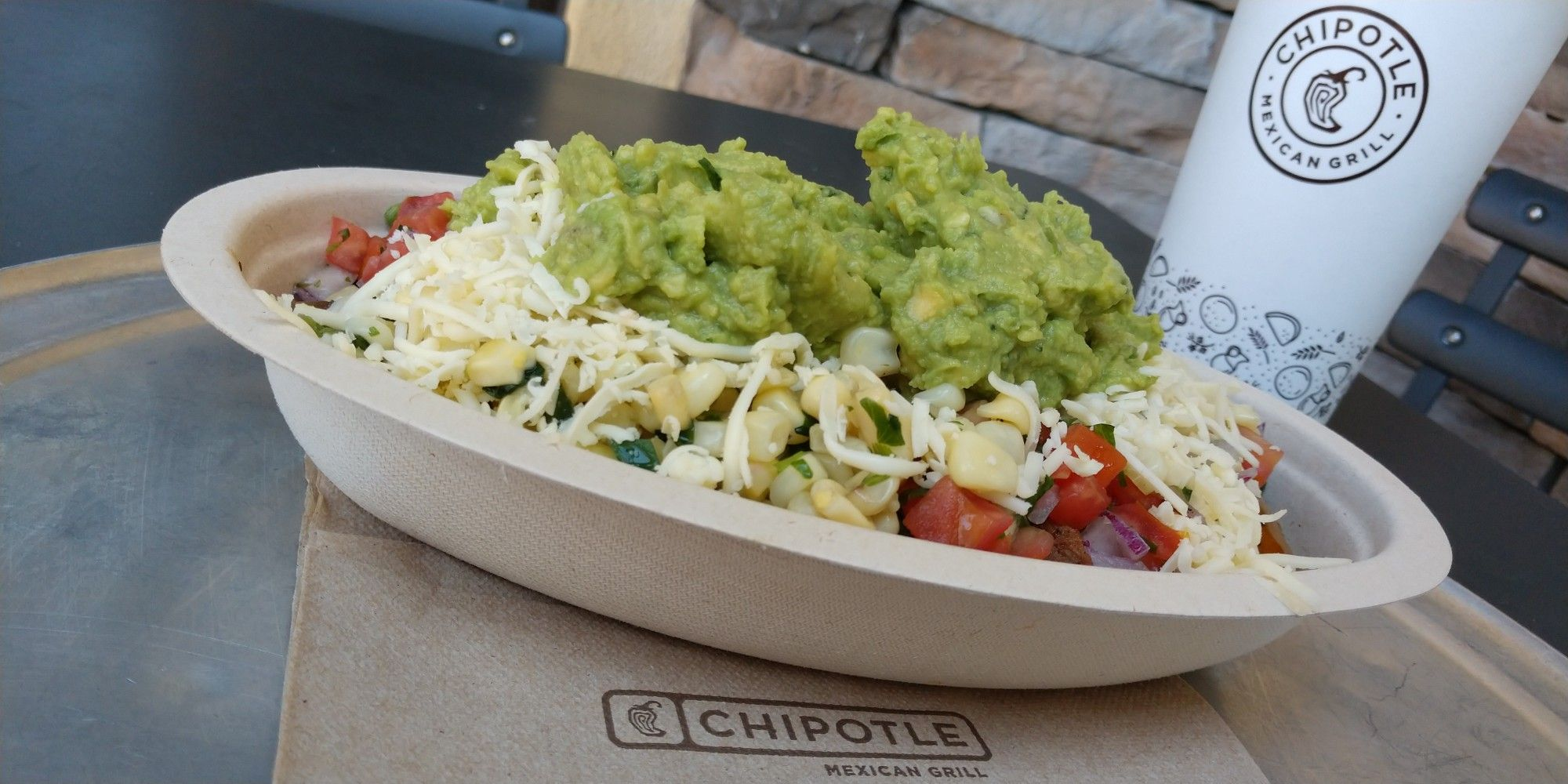 Burrito bowl add guacamole at chipotle mexican grill in