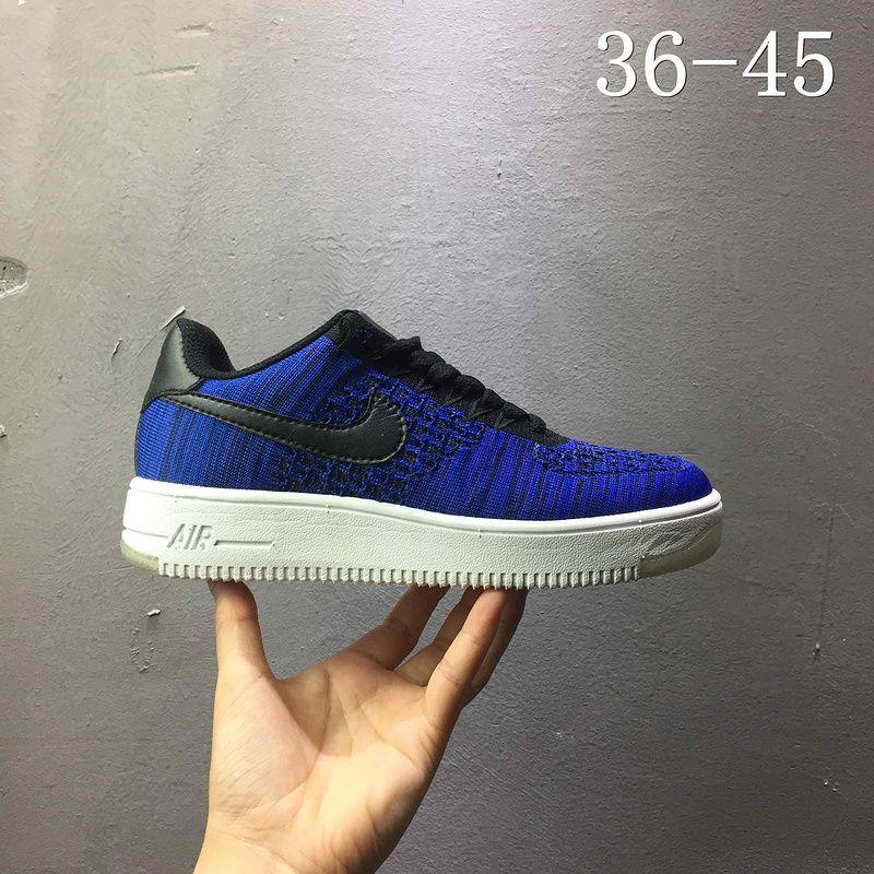 competitive price 9d91f 03ce0 2018 Shop Nike air force 1 AF1 Flyknit low Purplish Blue Black Noir 820256  400 Youth Big Boys Shoes
