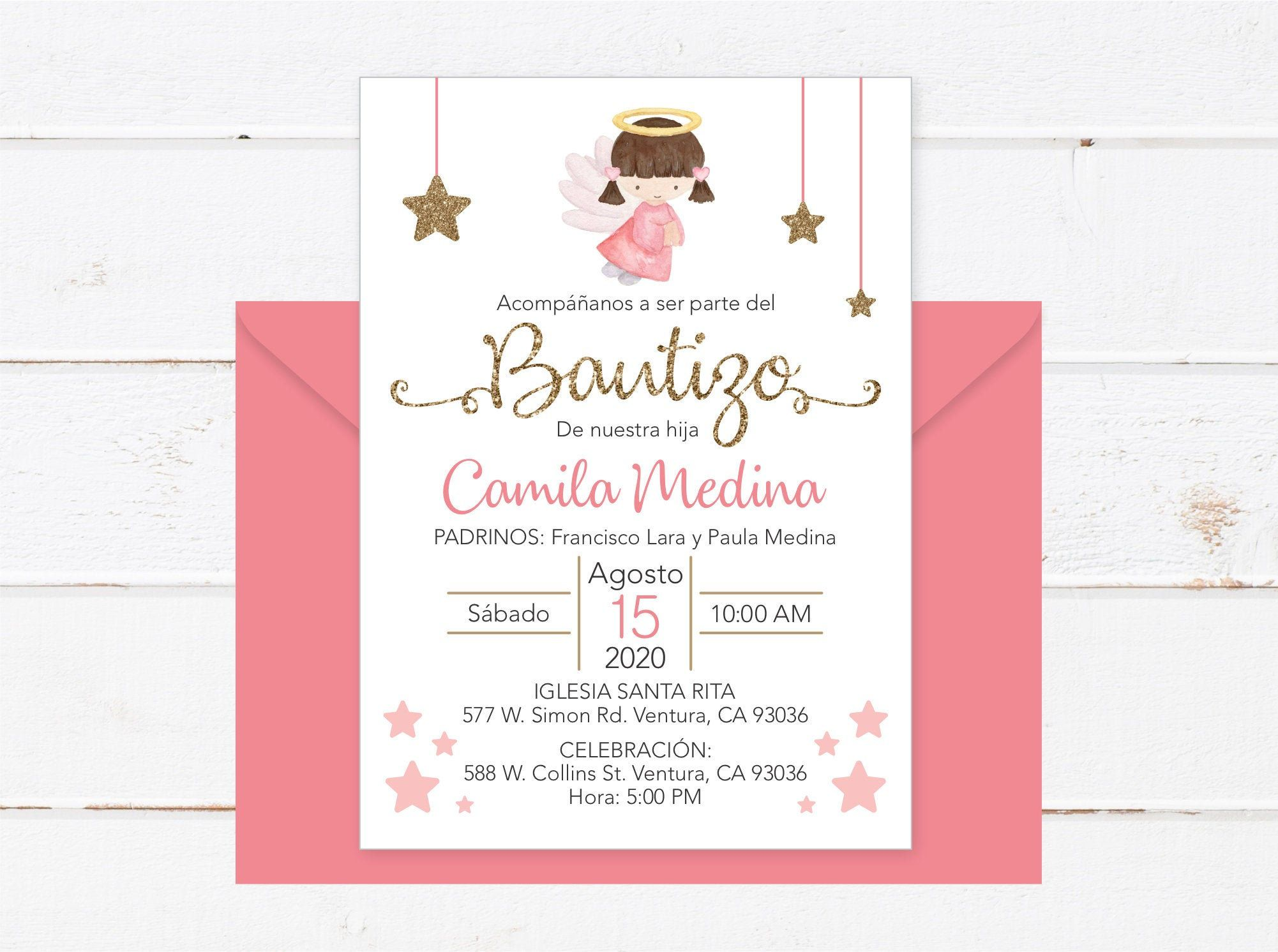 baptism invitation in spanish printable girl