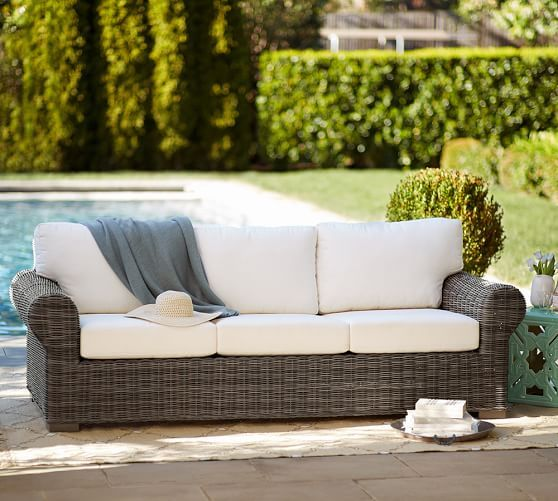 Beau Huntington All Weather Wicker Roll Arm Sofa | Pottery Barn
