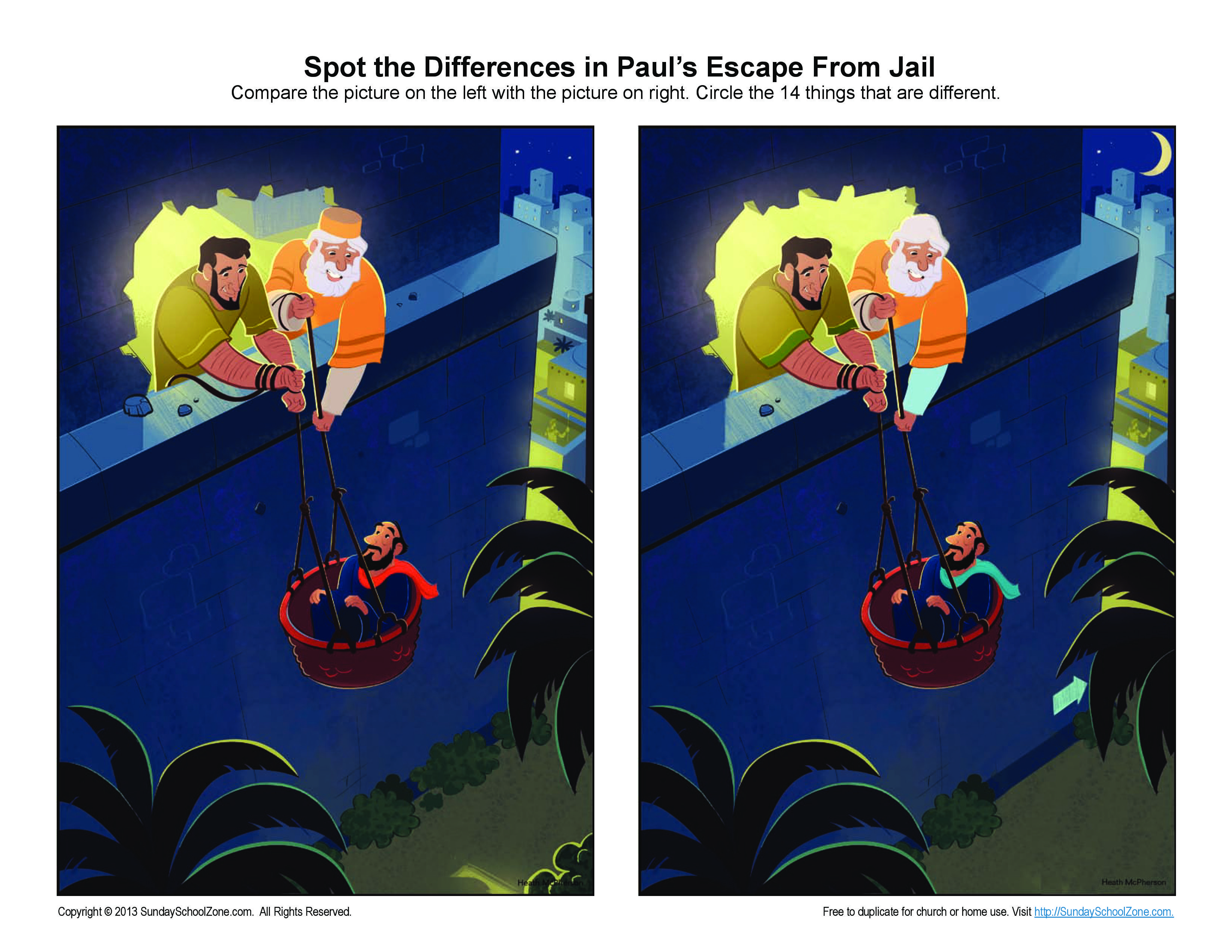 paul escaped damascus in a basket spot the differences bible