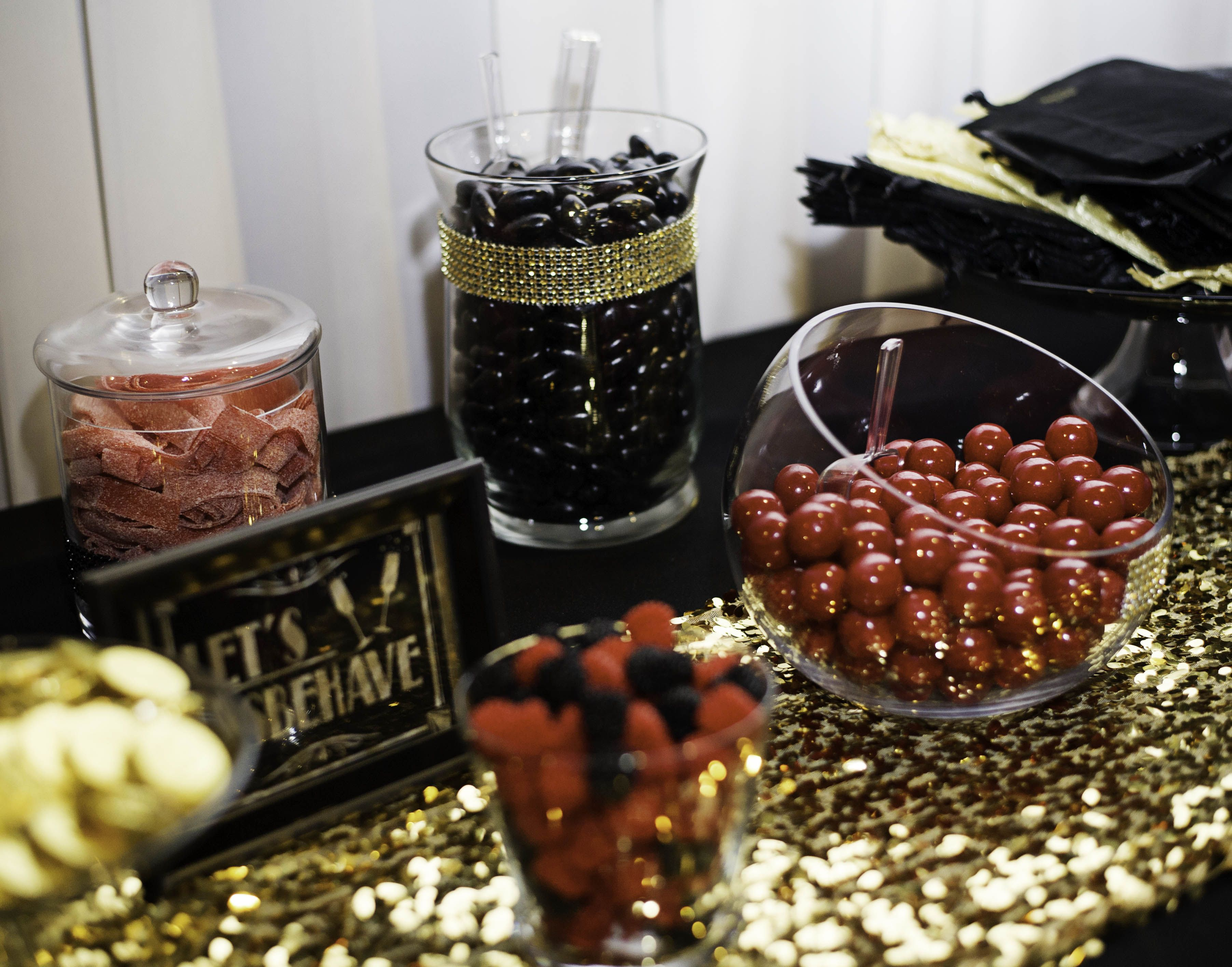 Engagement Party Candy Bar Black Gold And Red Theme Candy Bar