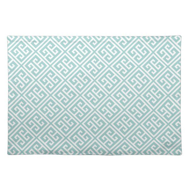 Mint Green Greek Key Pattern Placemat #greek #key #pattern #meander #geometric #Placemat